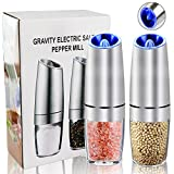 OurWarm LED Gravity Electric Pepper Grinder set of 2, Automatic Salt and Pepper Mill Grinder, Battery Powered, Adjustable Roughness