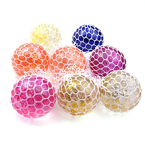 Chige Mesh Squishies Ball Rubber Vent Grape Stress Ball Squeezing Stress Relief Ball- For Kids & Adults, Stress Relief Toys For Autism, ADHD, Bad Habits & More (Random Color)