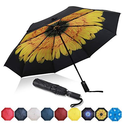 Amazon Brand - Eono Paraguas Plegable Automático Impermeable, Paraguas de Viaje a Prueba de Viento, Folding Umbrella, Recubrimiento de Teflón&Dosel Reforzado, Mango Ergonómico - Girasol