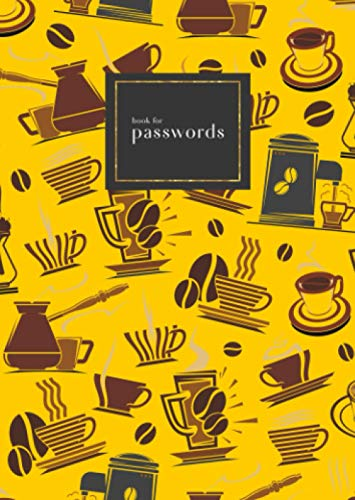 Book for Passwords: B6 Small Internet Address Notebook with A-Z Alphabetical Index   Coffee Maker Cup Bean Design   Yellow