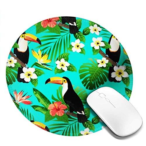 Blaugrüne Tropische Vögel Tropische Pflanzen Hibiskus Paradiesvogel Mousepad Rutschfeste Gummi-Gaming-Mauspad Runde Runde Mauspads Für Computer Laptop 20Cm