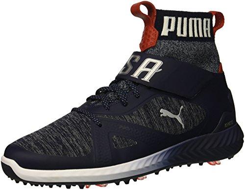 PUMA Golf Men's Ignite Pwradapt Hi-Top Golf Shoe, Peacoat/White/Red, 7 M US