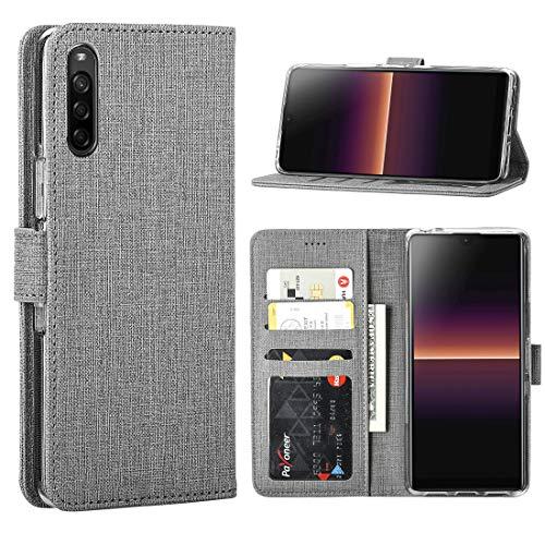 FUNMAX+ für Sony Xperia L4 Hülle, PU Leder Handyhülle mit 3 Kartenfächer, Schutzhülle Hülle Tasche Magnetverschluss Flip Cover Stoßfest für Xperia L4 2020 (Grau)
