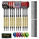 BESPORTBLE 12pcs 18g Soft Tip Darts Set Professional Plastic Tip Dart Sports Supplies Fitness Equipment with Darts Flights for Electronic Dart Board (Colorful)