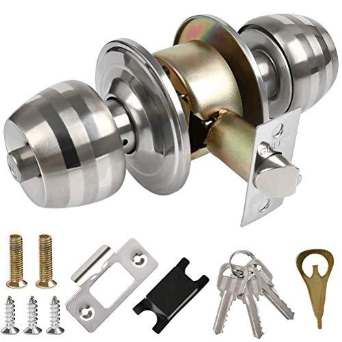 OFNMY Juego de cerradura cilíndrica de acero inoxidable con llave, cerradura de puerta de paso, cerradura de puerta de alta seguridad moderna para cualquier puerta, lengüeta de 50 mm/universal