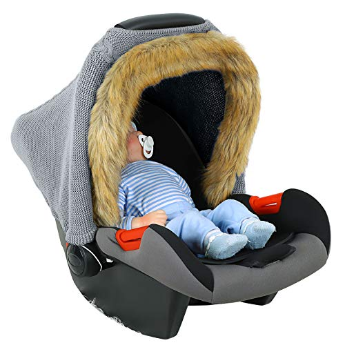 Yinuoday Knitted Baby Car Seat Cover with Faux Fur Winter Stretchy...