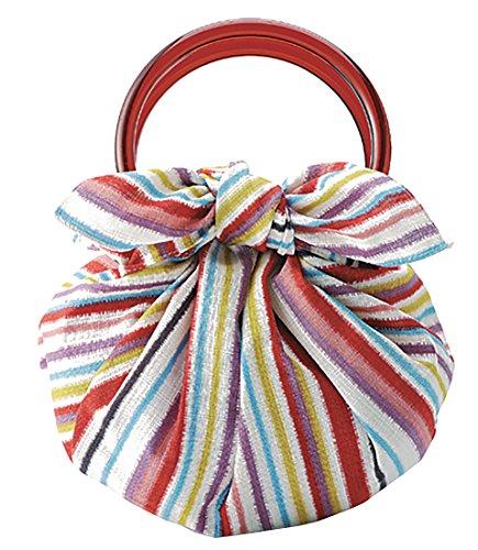 モダンガール いちごバッグ 風呂敷といちごリングのセットです(作り方しおり付) (しましま マルチ)