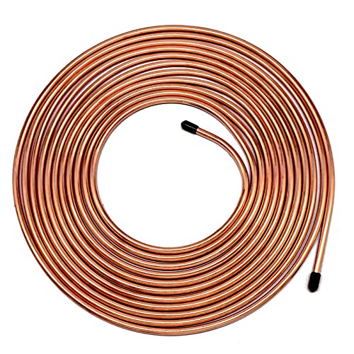 25 ft 3/16 RV Camper Brake Line Tubing - MuHize Flexible 25 Ft. of 3/16 Car Copper Tube Roll for Hydraulic Braking Systems, Fuel Systems, And Transmission System