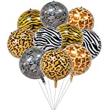 Kiwochy Animal Print Ballons 10 Stück Tiere Folienballon 4D Wild Tier Mylar Ballon Serpentin Tigermuster Leopard Zebramuster Giraffenmuster Ballon für Dschungel Safari Party Dekoration 22' 5 Stile