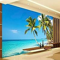 3D壁掛け壁紙ココナッツパターンカスタムタペストリーサンウォータービーチリビングルームベッドルーム200cmx140cm3D不織布プレミアムアートプリントフリース壁壁画装飾