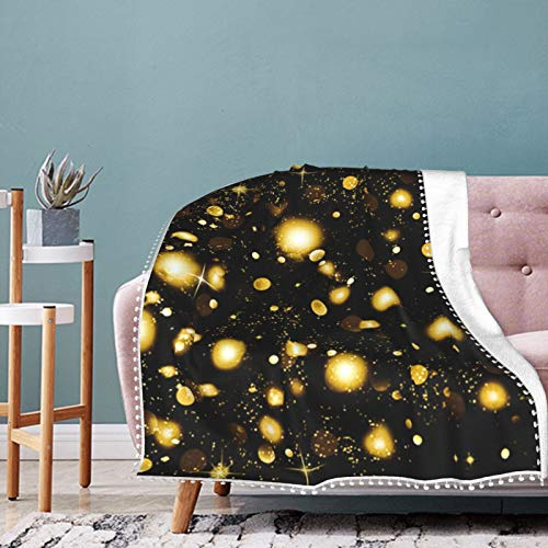 Christmas Golden Falling Snowflakes and Stars On A Black Christmas Holiday Throw Blanket Warm Throws for Winter Bedding,Couch,Sofa and Gift 60'x50'
