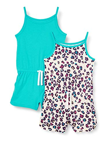 Amazon Essentials Girls 2-Pack Knit Romper, Animal, 4T