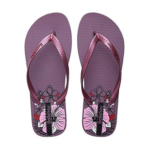 Sandalias de tanga para mujer, zapatillas de piscina planas y ultraligeras, estampado de flores, verano, al aire libre, elegantes, zapatos de diapositivas de PVC para mujer