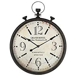 JUMBO DECOR Large Pocket Watch Metal Wall Clock with Antique Frame for Home,Kitchen,Living Room,Oversized Wall Clock with Handle,Silent Non-Ticking,Distressed Black 23.5 x 30