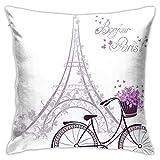 Funda de cojín Throw Cojín Throw Pillow Case Texto de Bonjour Paris con Torre Eiffel y Bicicleta Funda de Almohada 45X45CM