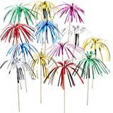 TecUnite 100 Pieces Firework Cupcake Toppers Foil Frill Toothpicks Christmas Cake Decorations 9 Inch Coconut Tree Shape Food Picks for Holiday Party Favors Supplies (Multicolored)