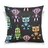 Asekngvo Throw Pillow Cover 18x18 Pulgadas, Robot de Dibujos Animados, Fundas de Almohada Decorativas Coloridas, Funda de cojín para sofá, Cama,