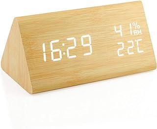 目覚まし時計 置き時計 デジタル 大きなLED数字表示 温度湿度計 カレンダー アラーム 振動/音感センサー 輝度調節 設定記憶 USB給電/電池 木製 おしゃれ 卓上 新築祝い 贈り物 日本語説明書付き (木目調)
