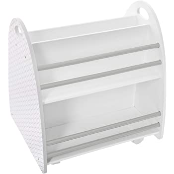 Atmosphera – Niedriges Bücherregal fürs Kinderzimmer, Rollen, beidseitig (Weiß/Grau)