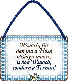 "Cartel de chapa con texto en alemán ""B'SUACH, für den MA A HOSN ."" decorativo, cartel de metal para colgar puerta bávaro M..."