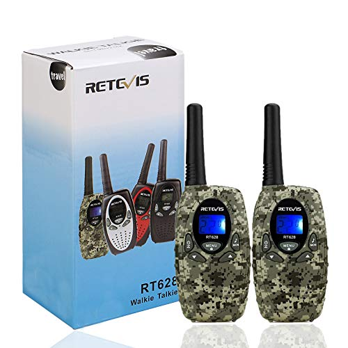 Retevis RT628 Walkie Talkie Kids PMR446 8 Channels VOX LCD Display Radio Set for Children Gifts Toys and Outdoor Adventures (1 Pair, Camouflage)