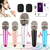Mini Microphone for iPhone,Tiny Microphone,Portable Microphone/Mini mic,for Mobile Phone, Computer, Tablet, Recording Chat and Singing,with Mic Stand and 2PCS Sponge Foam Cover (Silver White)