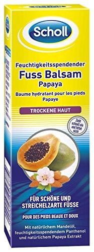 Scholl feuchtigkeitsspendender Fuß Balsam Papaya, Feuchtigkeitscreme für trockene Haut, 2er Pack (2 x 75 ml)