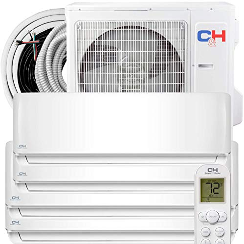 Four 4 Zone 9,000 + 9,000 + 9,000 + 18,000 BTU Ductless Mini Split AC/Heating system Full Set with 25FT Installation Kits