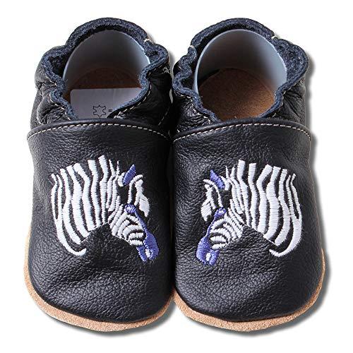 HOBEA-Germany bestickte Krabbelschuhe in verschiedenen Designs 20/21 (12-18 Mon), Zebra schwarz