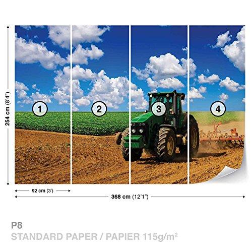 FORWALL DekoShop Fototapete Tapete Grüner Traktor auf dem Feld AD1909P8 (368cm x 254cm) Photo Wallpaper Mural