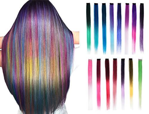 15 Stück Ombre Farbclip in Haarverlängerungen 20 Zoll bunte synthetische gerade Clip auf Haarverlängerungen Haar für Mädchen Frauen Kinder Party lange glatte Haarteile