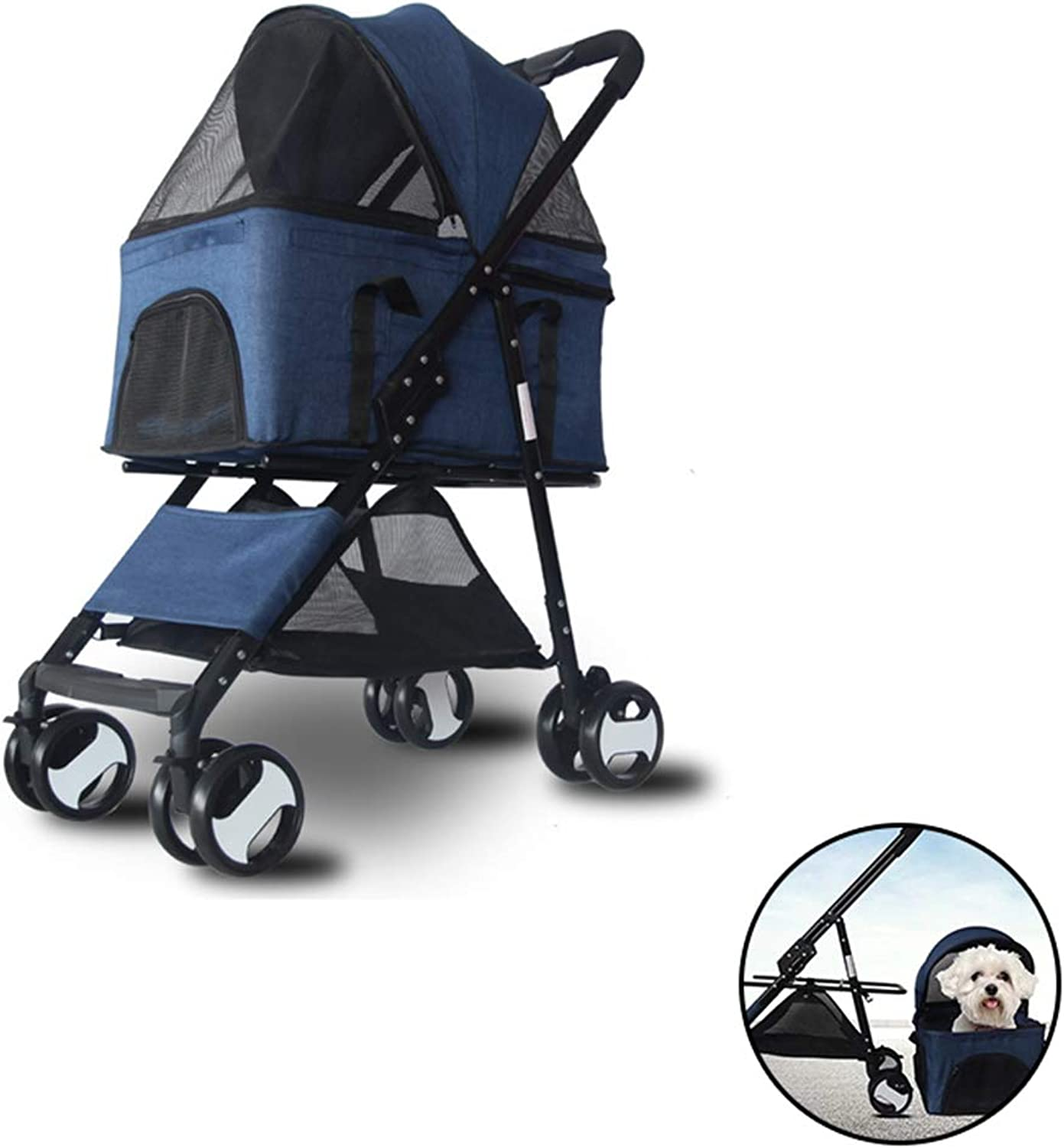 PETSUPPLY Pet Travel Stroller Cat Dog Pushchair Trolley Puppy Jogger Carrier Four Wheels,Foldable, Car Bag Detachable,Front Wheel greenical Shaft Design, 360 Degree redation,A