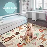 Baby Reversible Play Mat 78.7inchx 59inchx0.4inch Double-Sided Crawling Mat Foldable Waterproof Non-Toxic Portable...
