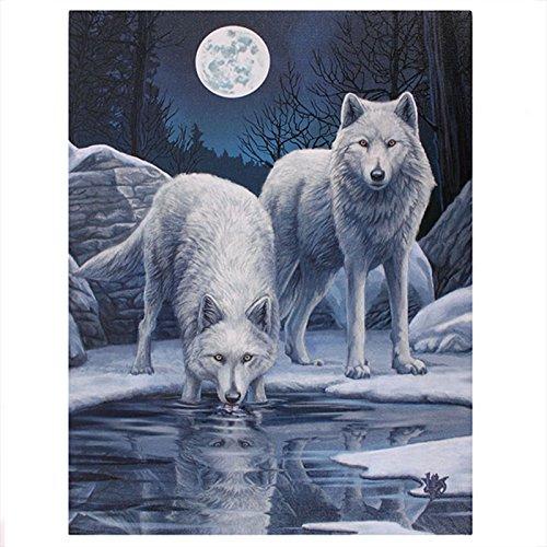 Lisa Parker - Warriors Of Winter - White Wolves & Ice Scene - 25cm x 19cm Canvas Plaque by Lisa Parker