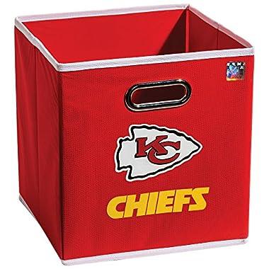 Franklin Sports NFL Kansas City Chiefs Fabric Storage Cubes - Made To Fit Storage Bin Organizers (11x10.5x10.5)