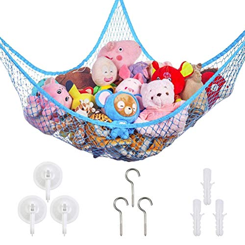 Speichernetz Spielzeug Hängematte Aufbewahrung Netz Kinderzimmer Spielzeug Organizer Netz kinder Spielzeug Veranstalter Kleinkinder Toy Hammock Storage Net für Kuscheltiere (Blau)