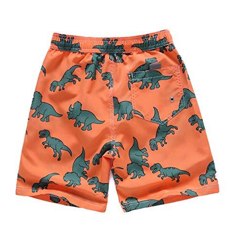 LAUSONS Boys Dinosaur Swim Trunks Adjustable Waist Kids Beach Shorts Quick Dry Boardshort Orange 3-4 Years