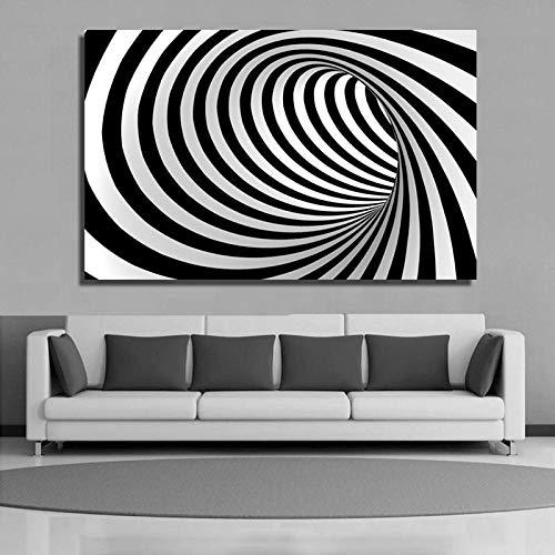ganlanshu Rahmenlose Malerei Abstrakte Kunst Kurve Schwarzweiss Moderne Leinwand Wohnzimmer Kunst WanddekorationZGQ4722 60X90cm