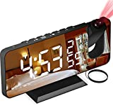 AikoveJA Despertador Proyector, con Función de Radio FM, Pantalla de Espejo LED de 7', Brillo de 4 Niveles, Carga USB, Proyección nítida y fácil de Usar, Utilizado en la Oficina en casa, Dormitorio