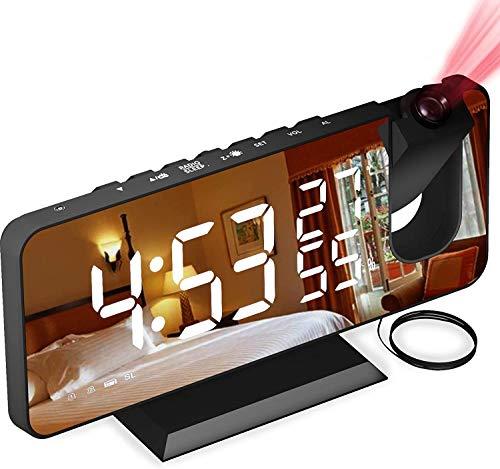 """Despertador Proyector, con Función de Radio FM, Pantalla de Espejo LED de 7"""", Brillo de 4 Niveles, Carga USB, Proyección nítida y fácil de Usar, Utilizado en la Oficina en casa, Dormitorio"""
