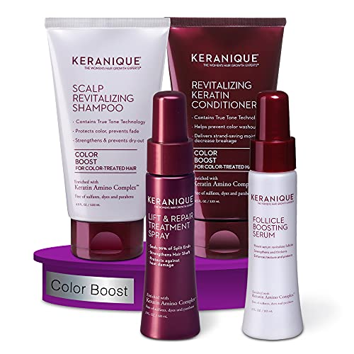 Keranique Thicker Fuller Hair 30 Days System with Keratin Shampoo, Conditioner, Follicle Boosting Serum and Lift and Repair Treatment for Color Treated Thinning Hair, Paraben/Sulfates Free