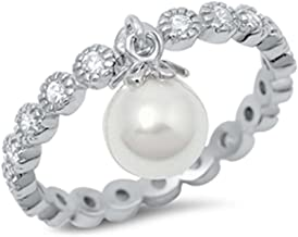 Oxford Diamond Co Round Eternity Band & Dangle Simulated Pearl .925 Sterling Silver Ring Sizes 4-10
