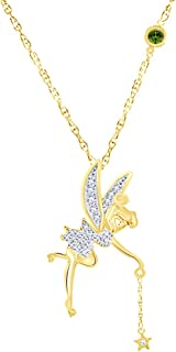 White Natural Diamond Tinker Bell Angle Pendant Necklace in 14K Gold Over Sterling Silver