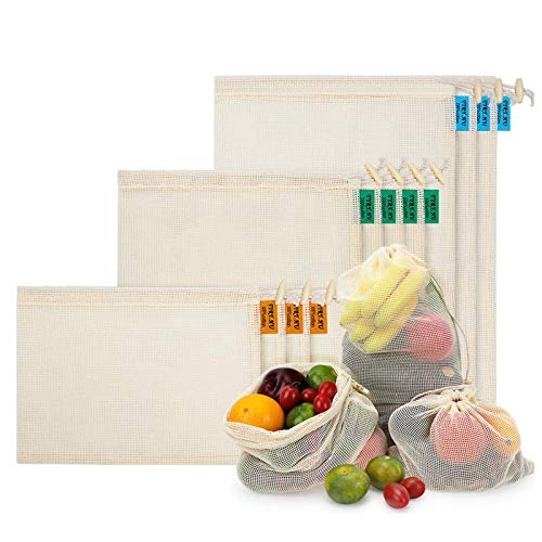 Reusable Produce Bags 10 PCS Organic Cotton Mesh Bags for Fruit and Veg Grocery Shopping and Storage  S M L