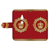 スマQ Xperia XZ2 SO-03K / SOV37 / 702SO 国内生産 カード スマホケース 手帳型 SONY ソニー エクスペリア エックスゼットツー 【B.レッド】 王冠とレース シンプル ami_vd-0248