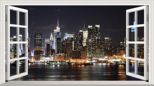 Chicbanners New York V001 Autocollant Mural 3D Motif fenêtre Magique New York NY 1000 mm de Large x 600 mm de Profondeur