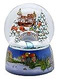 Minium Collection 20005 - Bola de nieve, diseño nostálgico de trineo con base de porcelana, diámetro de 150 mm, con luz y música