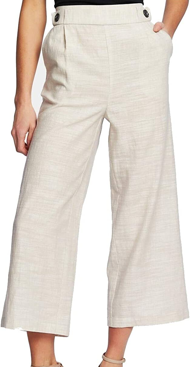 CeCe Womens Beige Wide Leg Wear to Work Pants Size 10
