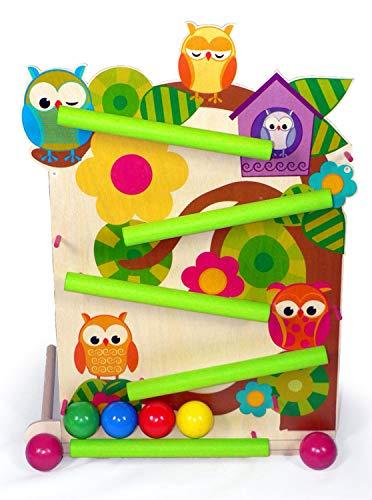 Hess Holzspielzeug 31127 - Kugelbahn aus Holz, Motiv Eulen, mit 4 Kugeln, handgefertigt, für Kinder ab 12 Monaten, ca. 50 cm, für fröhlichen Spielspaß im Kinderzimmer und Kindergarten