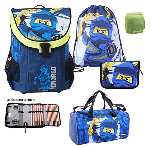 Familando Lego Ninjago Easy Schulranzen-Set 5tlg. Team Ninja Jay mit Federmappe gefüllt, Turnbeutel, Regenschutz und großer Sporttasche